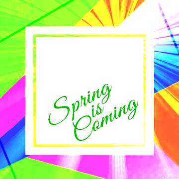 Colorful illustration template frame with Rays of sunlight and Lettering Spring is Coming
