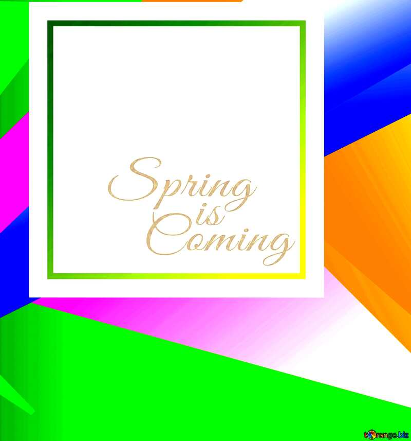 Graphic illustration template in frame with Lettering Spring is Coming №49675