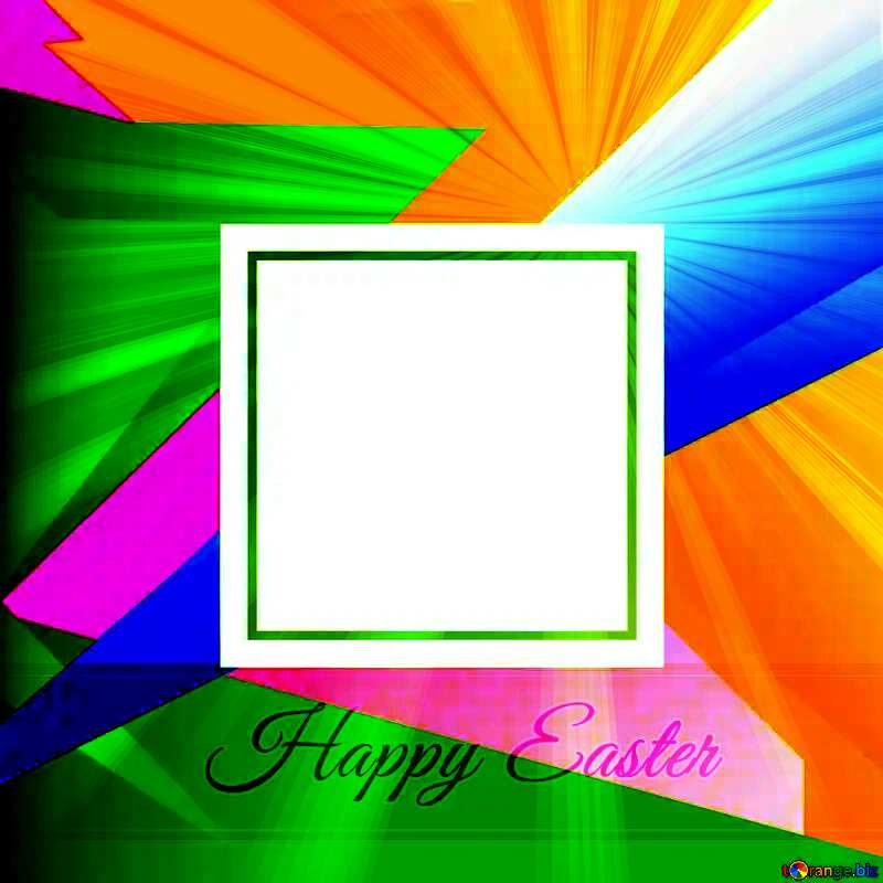 Happy Easter card Colorful illustration template with Rays №49675