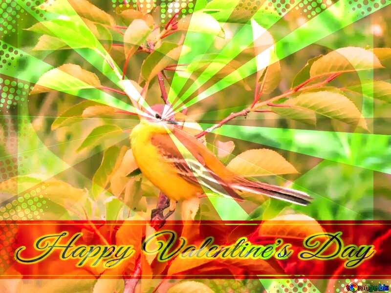 Happy Valentine`s day card with bird №28274