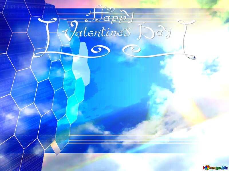 Love heart in sky Tech background №22605
