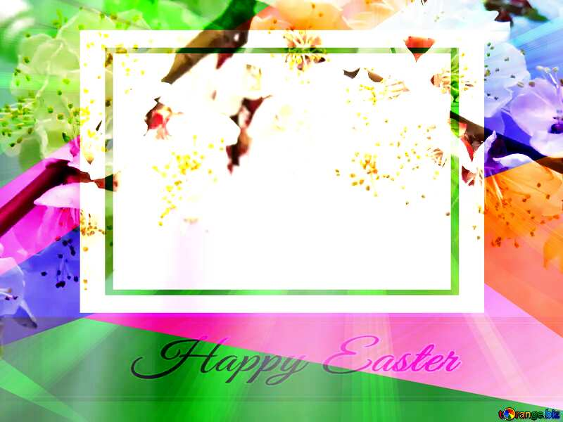 Spring blossoms Colorful card template frame with Inscription Happy Easter on Background with Rays of sunlight №30029