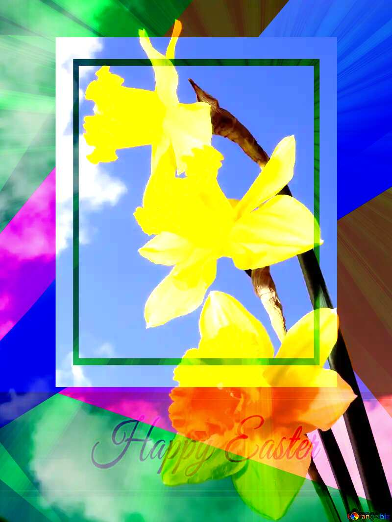 Spring bouquet Colorful card template frame with Inscription Happy Easter on Background with Rays of sunlight №30957