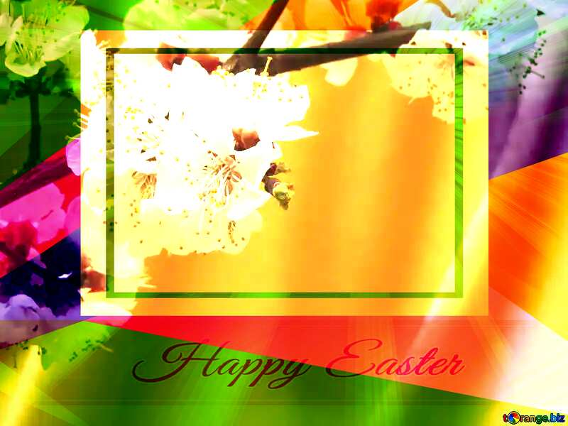 Spring flowering tree Colorful card template frame with Inscription Happy Easter on Background with Rays of sunlight №29950