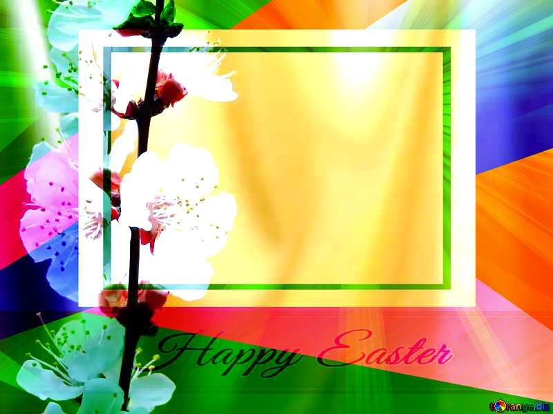 Spring golden background Colorful card template frame with Inscription Happy Easter on Background with Rays of sunlight №29937