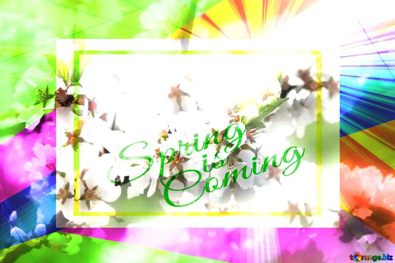 Spring pictures on wallpaper for desktop Colorful illustration template frame with Rays of sunlight and Lettering Spring is Coming №39775