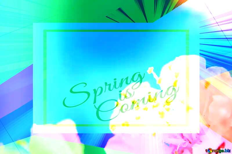 Spring flower background for desktop Colorful illustration template frame with Rays of sunlight and Lettering Spring is Coming №29889