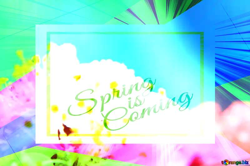 Spring tenderness Colorful illustration template frame with Rays of sunlight and Lettering Spring is Coming №29881