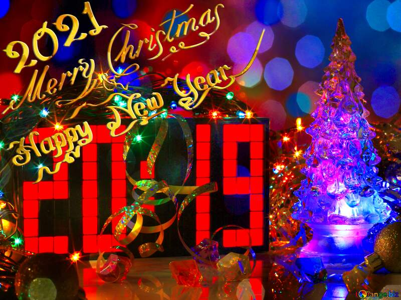 2019 New Year Card Merry Christmas background  bokeh №48255