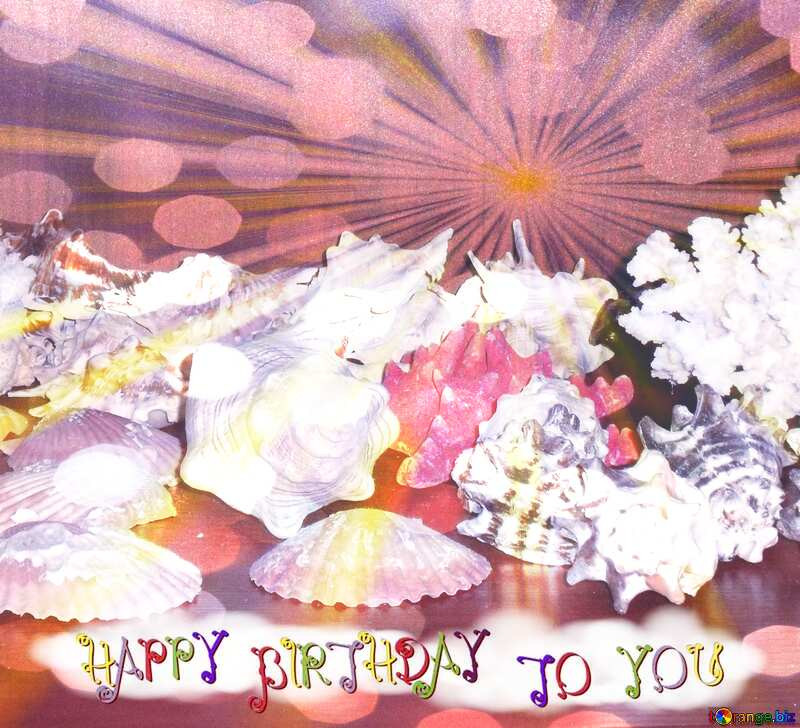 Collection of seashells Happy Birthday card №18159