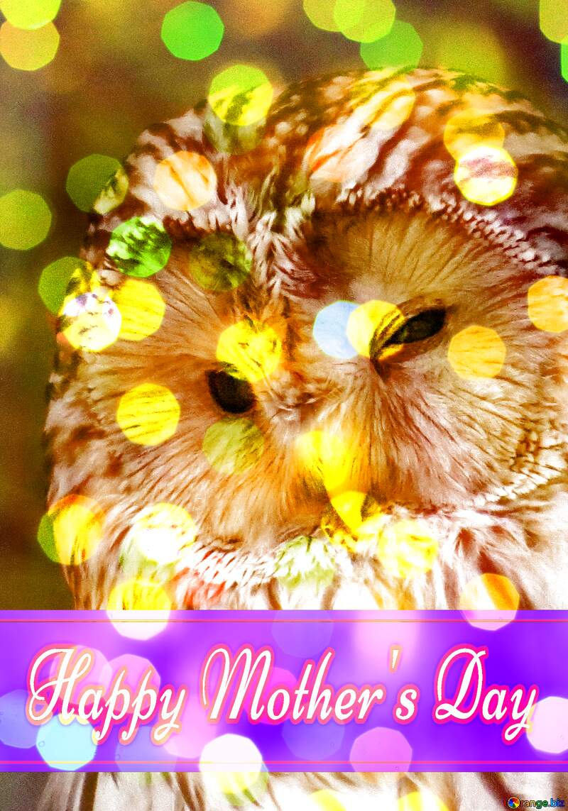Owl  with Pretty Lettering Happy Mothers Day №45217