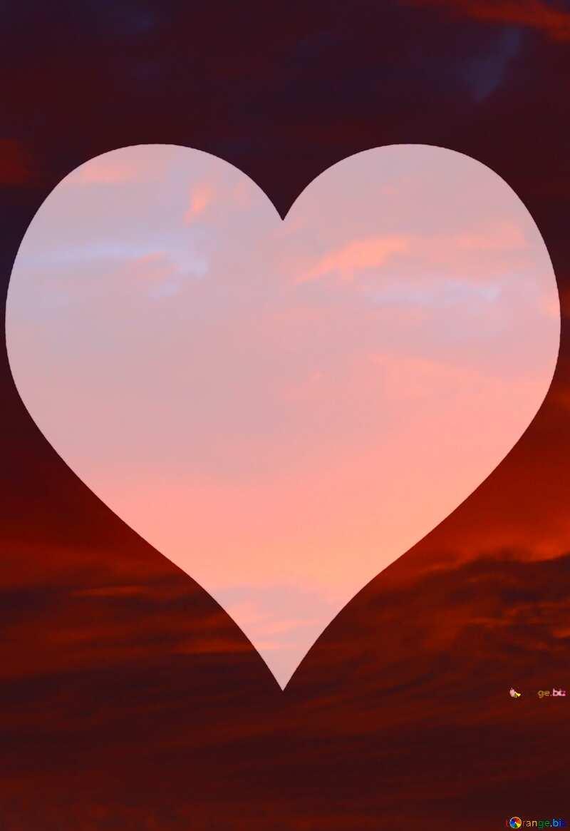 Red sunset love Heart №44627