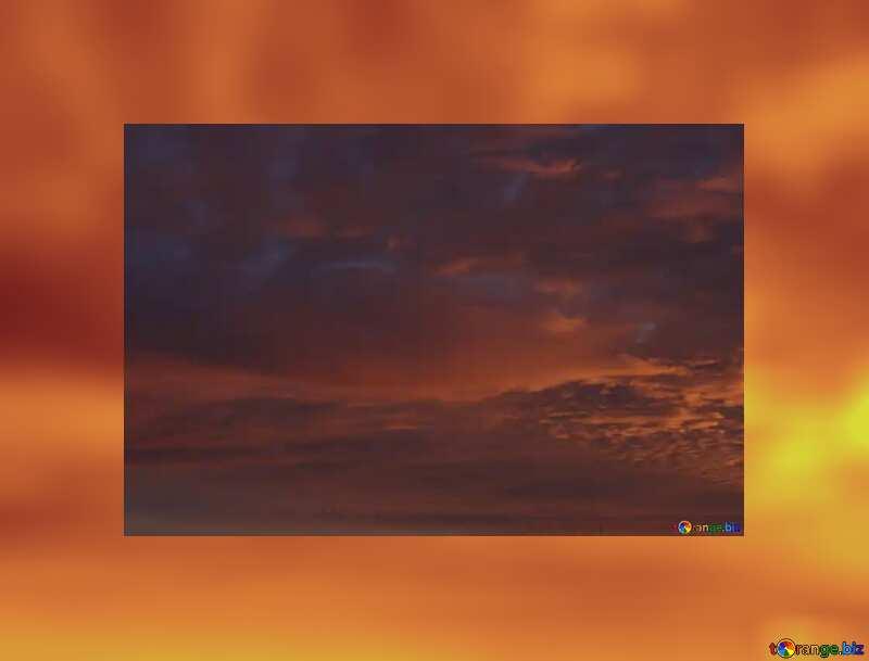Sky on sunset gold frame №44627