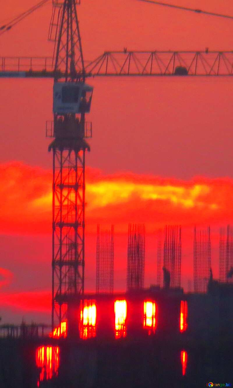 Sun sunset and Construction of a multi-storey building №30337