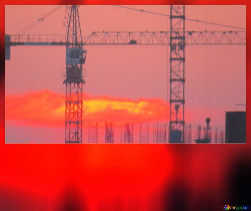 Sun sunset and Construction of a multi-storey building card №30337