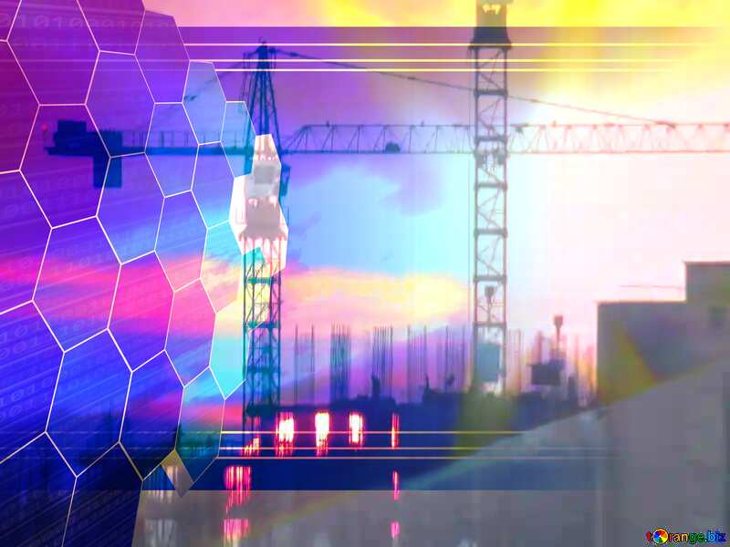 Sun sunset and Construction of a multi-storey building overlay Tech business information concept image for presentation №30337
