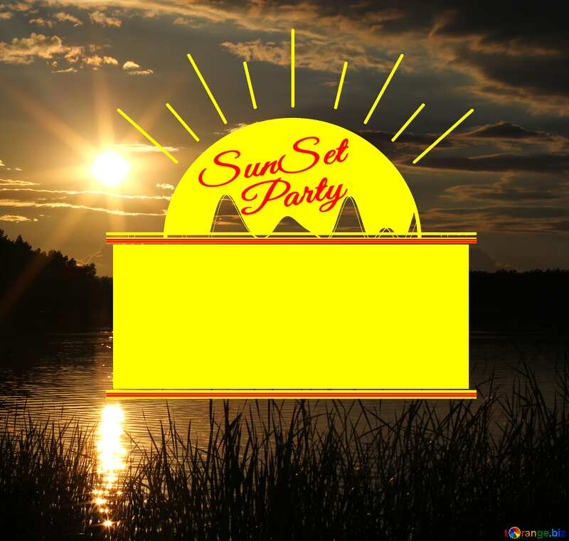 Sunset reflected in the water Sunset Party card №36498
