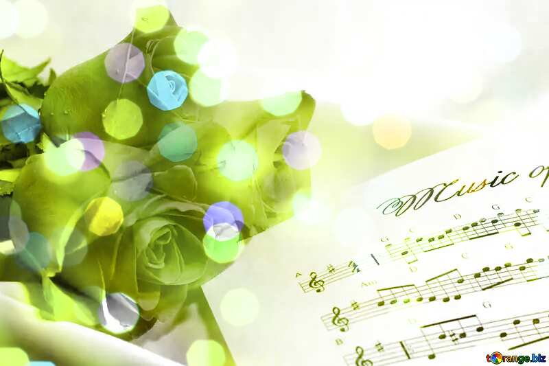 Beautiful card greetings music and roses №7255