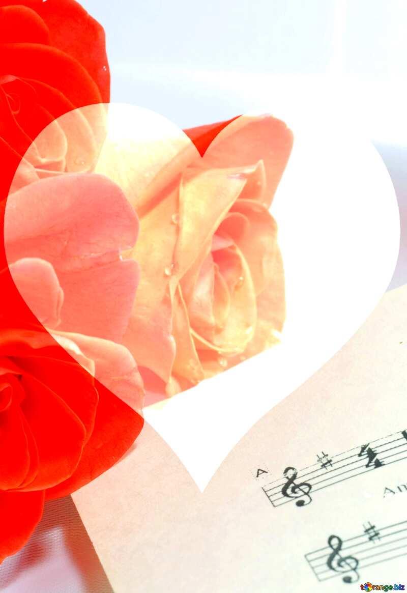 Card greetings music  love Heart №7255