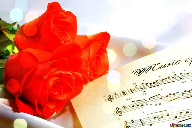 Card greetings , music rose flowers background №7255