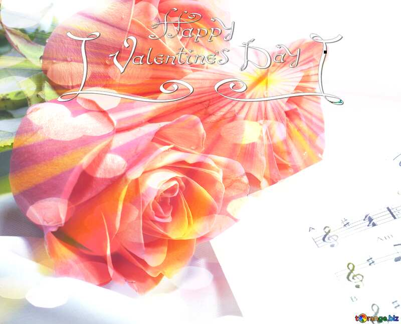 Roses Music card Happy Valentine`s Day №7255