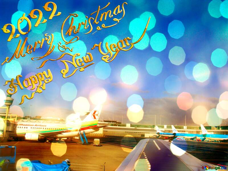 Aircraft  Background Card Happy  New Year 2022 2022 Merry Christmas №362