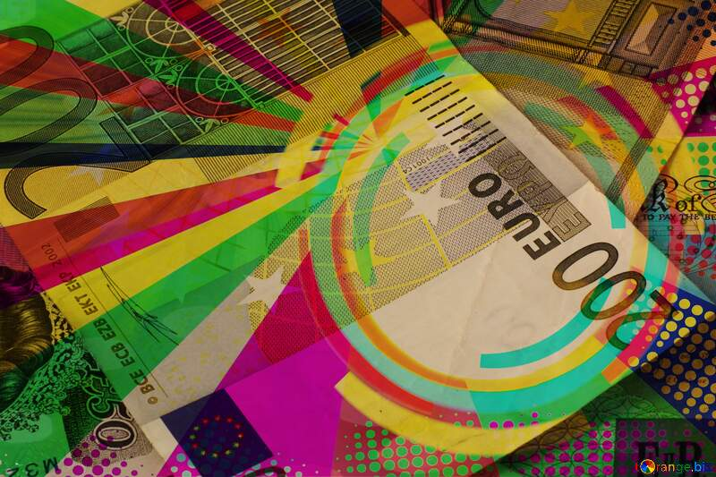 Euro money Infographics vintage card circle frame №17140