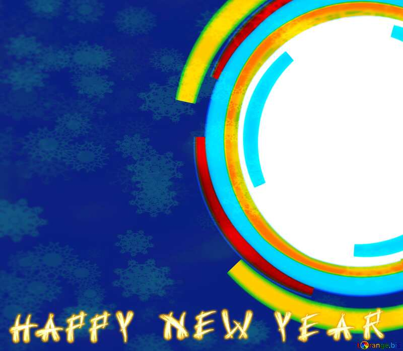 Infographics circle frame Snowflakes Happy New Year Background №49680