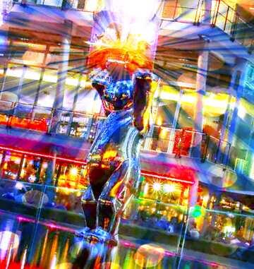 El efecto del espejo. El efecto de la muy luz. Colores muy vivos. Fragmento.
