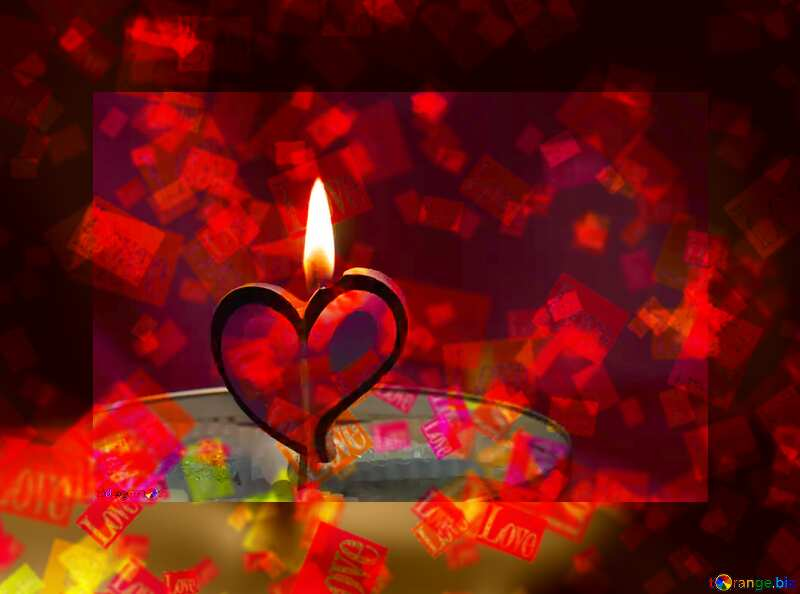 Candle in the form of heart  Love card template №17606