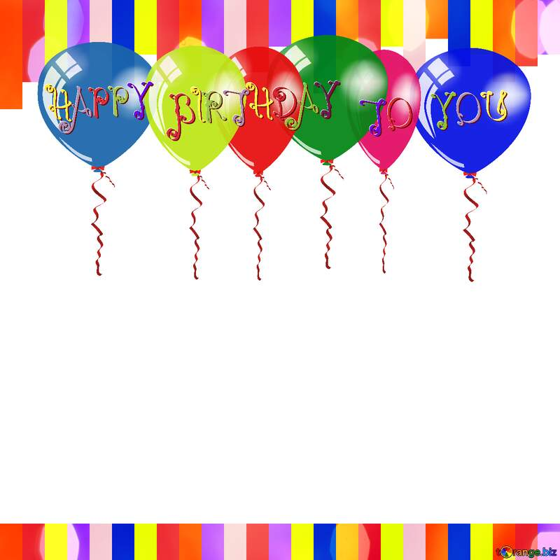Colorful lines frame Happy Birthday Card №49681