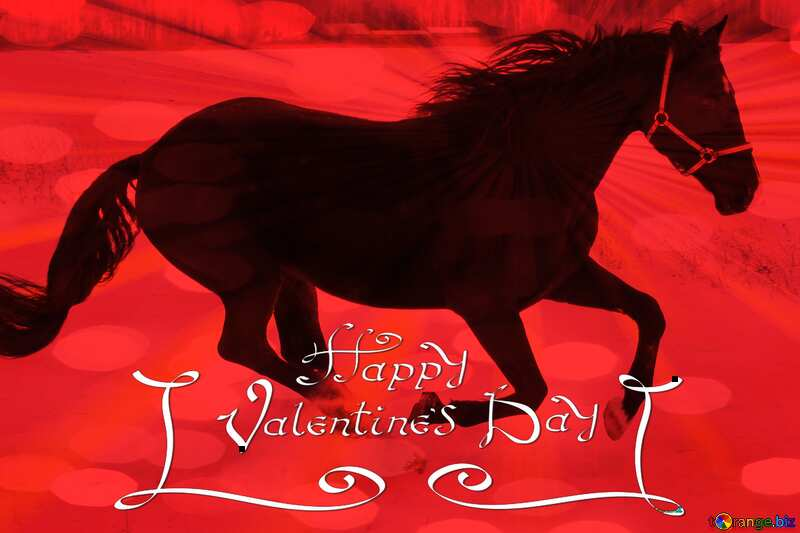 Happy Valentines Day with Horse red card №18191