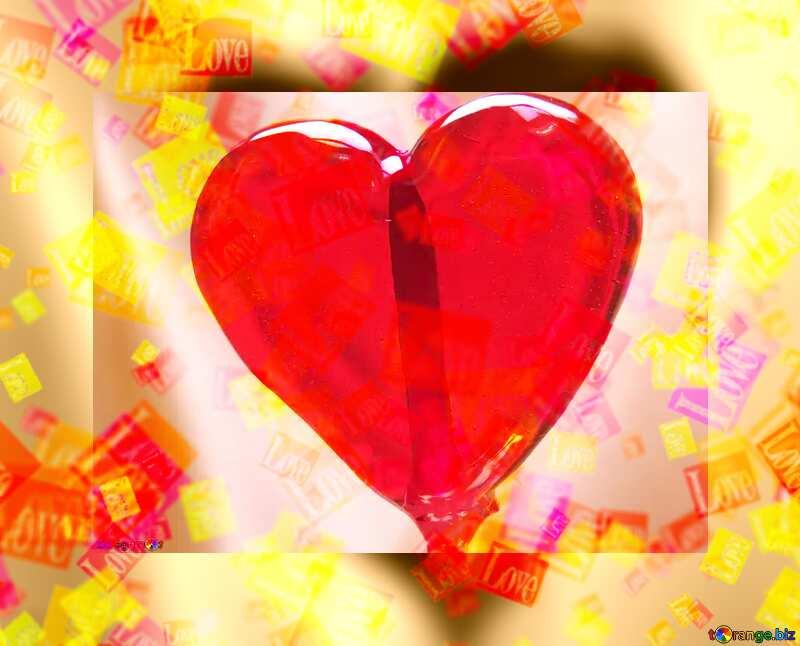 Love card with Heart lollipop №17469