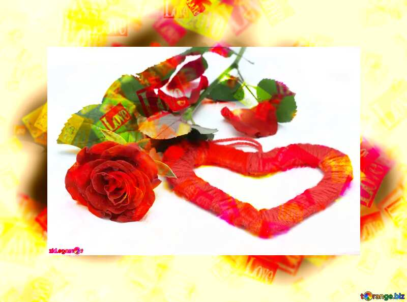 Love card Red heart and rose №16846