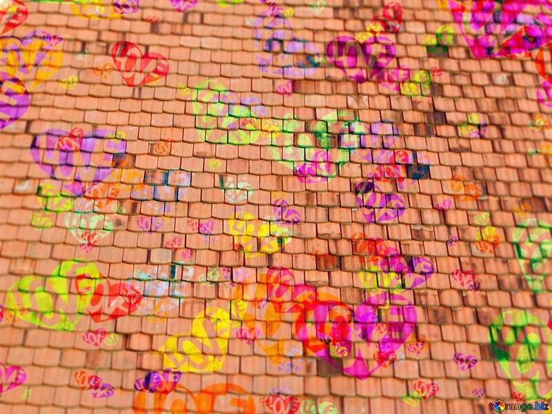 Love heart colorful texture of the old shingles №31761