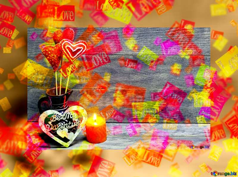 Love Valentines card with candles №49216
