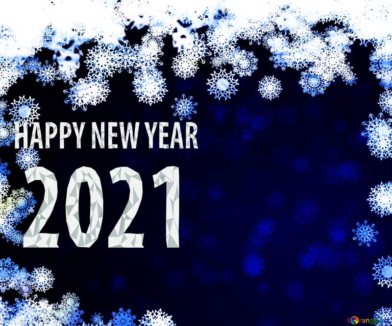 New year 2021 background card with snowflakes №40728