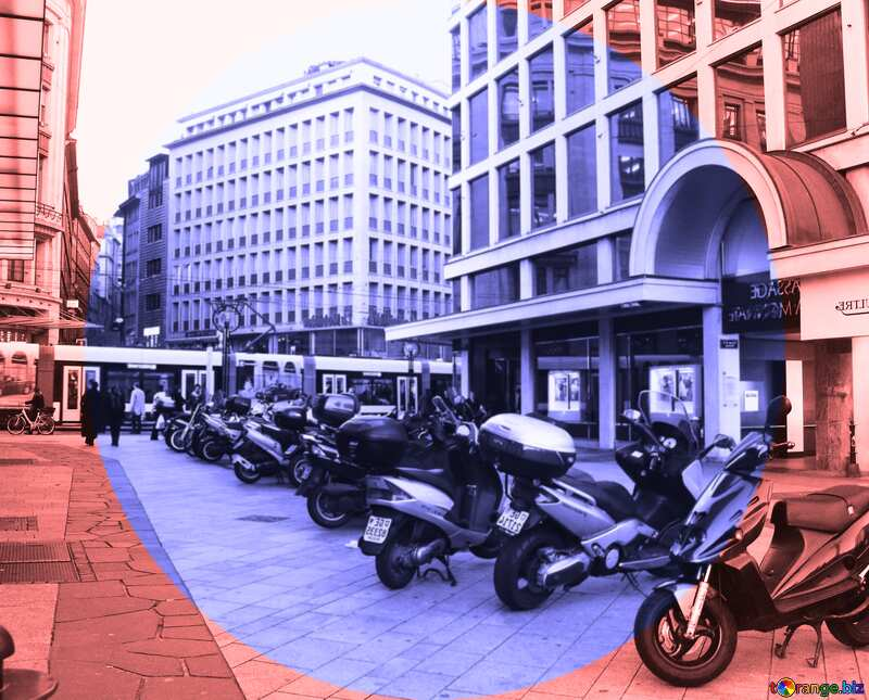 Parking motorcycles infographics blue circle frame №374