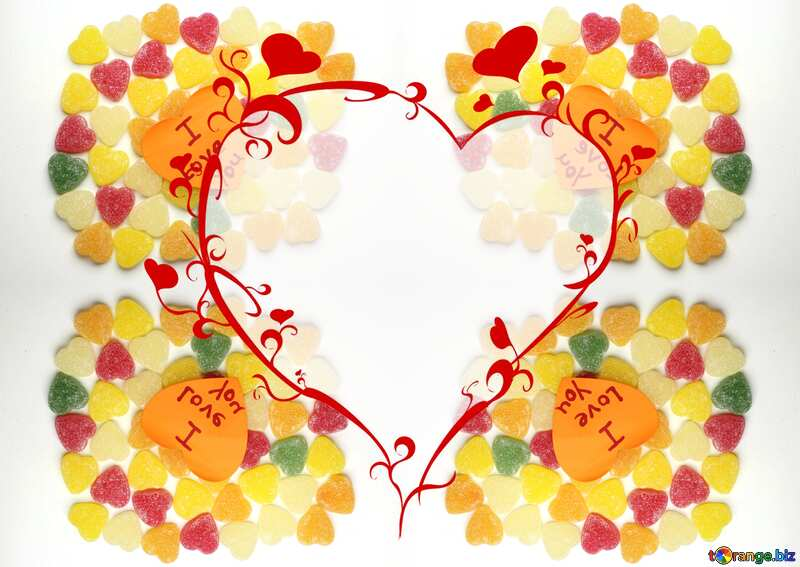 The best image. Background I love you in candy. №18767
