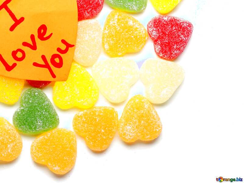 Blue color. Background I love you in candy. №18767