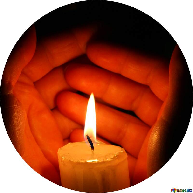 Candle in hand circle frame image for profile №18118