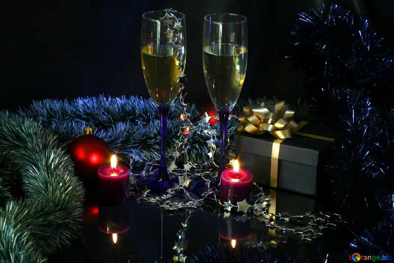 New Years card with champagne №2737