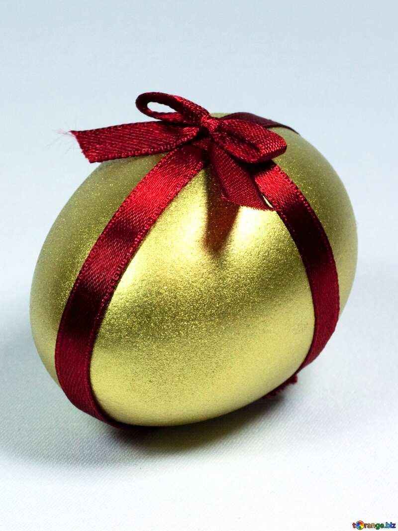 Gold Egg ribbon and  bow №8109