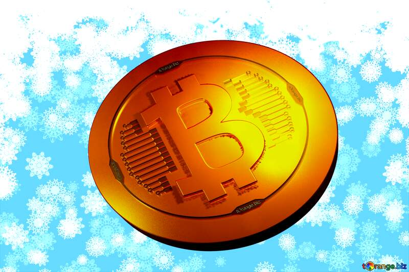 Bitcoin gold light coin Background Christmas and new year №40662