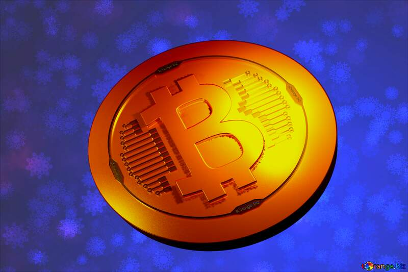 Bitcoin gold light coin Blue Snowflake background №40700
