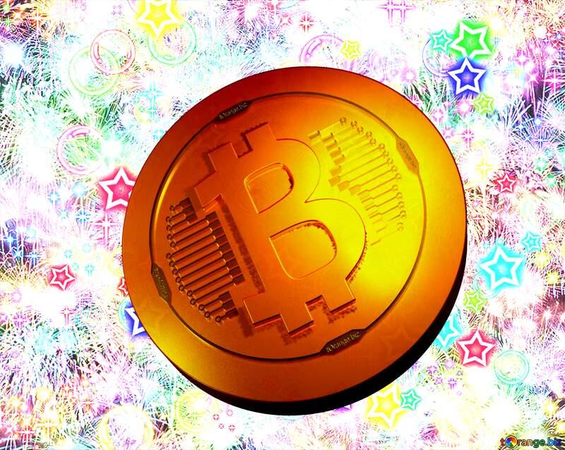 Bitcoin gold light coin Celebratory bright background №39955