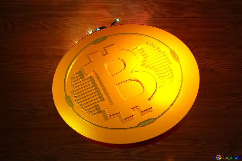 Bitcoin gold light coin Christmas wreath with a cock background with space for text №48022
