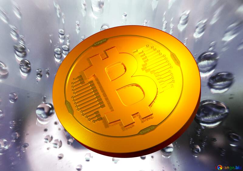 Bitcoin gold light coin Raindrops macro background №47981