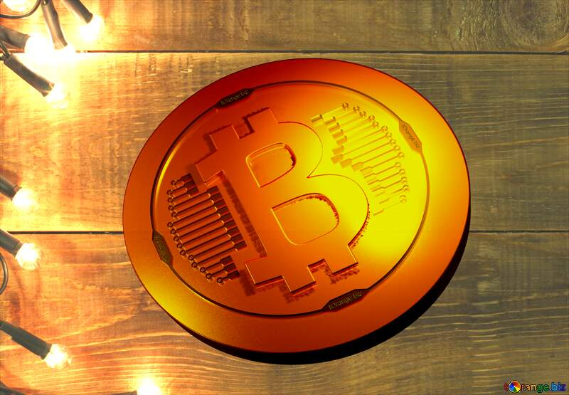 Bitcoin gold light coin wooden background №37894