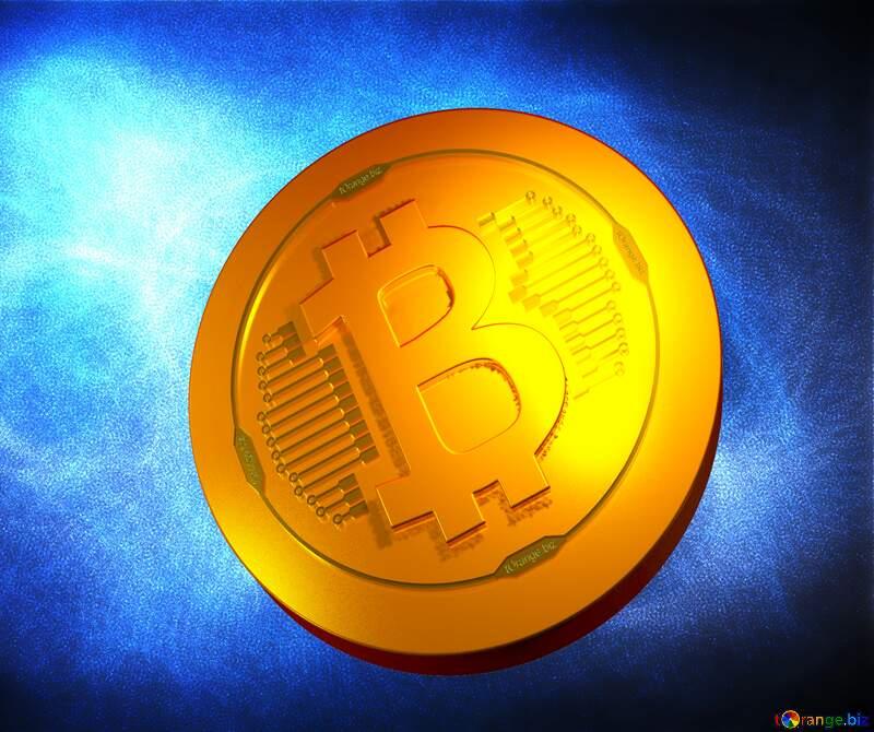 Blue background  Bitcoin gold light coin №40636
